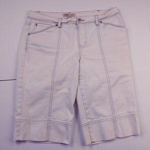 CAbi #881 Out N About White Denim Bermuda Shorts